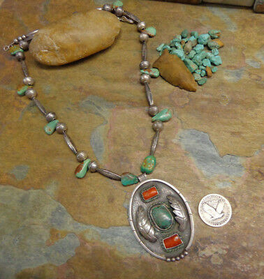 $ CDN455.46 • Buy Wow!! Navajo Squash Blossom Turquoise Red Coral Silver Necklace Native Old Pawn