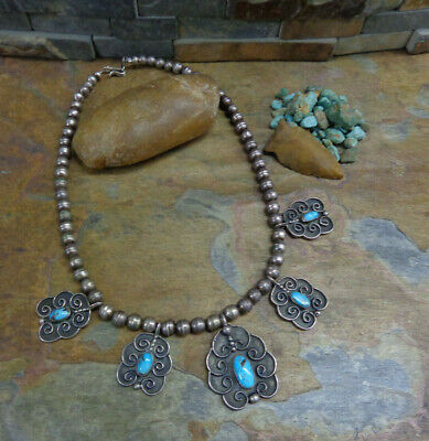 $ CDN455.46 • Buy Sale!. Wow Navajo Sterling Turquoise Squash Blossom Necklace Old Pawn Harvey Era