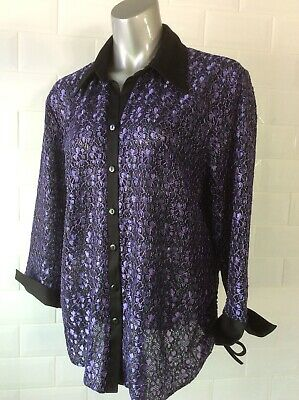 £17 • Buy Size 20 Black Purple Semi-sheer Lace Blouse Goth Steampunk Party Wedding Summer
