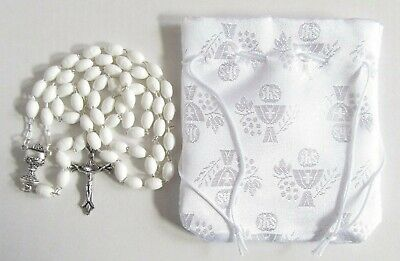 £5.99 • Buy Holy Communion White Rosary Beads With Faux Satin Drawstring Pouch Purse Gift