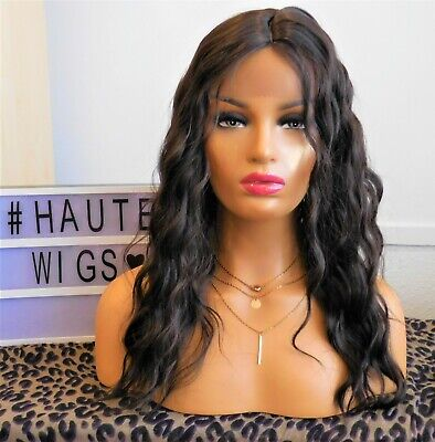 £35 • Buy Lace Front 1b Black Wavy Wig Curly 16 Inch Long Water Waves Synthetic Vegan