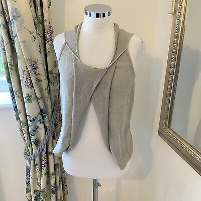£12.99 • Buy Crea Conceot 38 UK 10 Quirky Open Front Layer Linen Blend Sleeveless Knit Vest