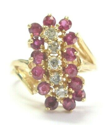 £668.02 • Buy Ruby & Diamond Cocktail Ring 14Kt Yellow Gold 1.50Ct 30Ct G-VS