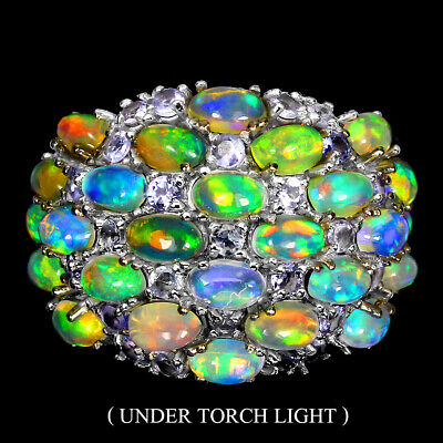 £0.89 • Buy Unheated Oval Fire Opal Rainbow Tanzanite 925 Sterling Silver Ring Size 8