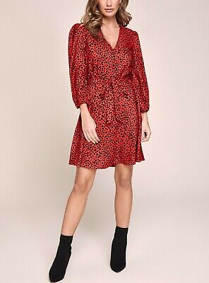 £14.99 • Buy Lipsy Red Animal Print Belted Button Tea Dress Size 16 BNWT Summer Party Work ❤