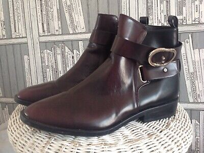 £15 • Buy Zara Trf Ladies Wine Leather Chelsea Ankle Boots. Size UK 8.