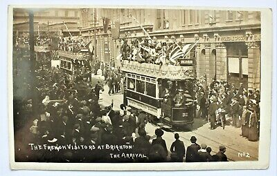 £9.99 • Buy Vintage Postcard The French Visitors At Brighton The Arrival Tram Transport 1907