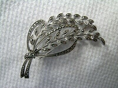 £6.99 • Buy Gorgeous Vintage Sterling Silver And Marcasite Flower Leaf Spray Brooch