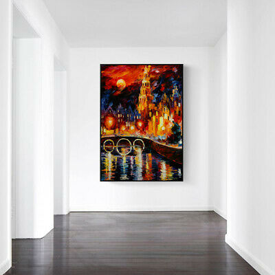 £8.09 • Buy Leonid Afremov Oil Painting City Under The Night Canvas Wall Art Picture Print