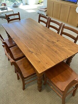 AU1 • Buy Dining Table Reclaimed Pine Floorboards And 8 Roma Chairs Dark Brown Good Cond