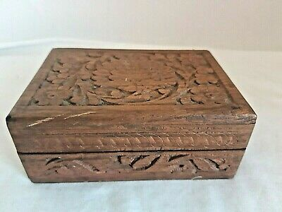 £9.99 • Buy Vintage Wooden Hand Carved Indian Jewellery Box Hinged Lid.