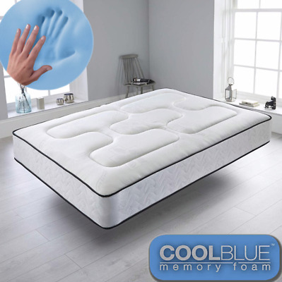 £119.89 • Buy Cool Blue Memory Foam Mattress Sprung - FREE NEXT DAY DELIVERY - All Over The Uk