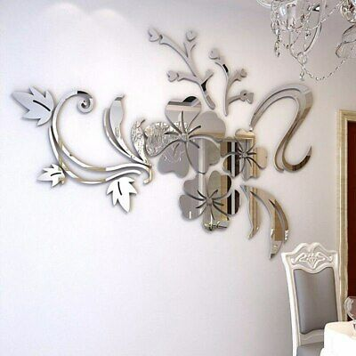 £1.60 • Buy 3D Mirror Floral Art Removable Wall Sticker Acrylic Mural Decal Home Room Decor