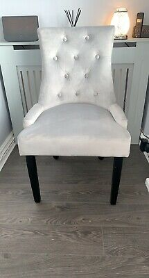 £57 • Buy Grey Plush Velvet Chair With Silver Ring Knocker, Great Condition, Brand New