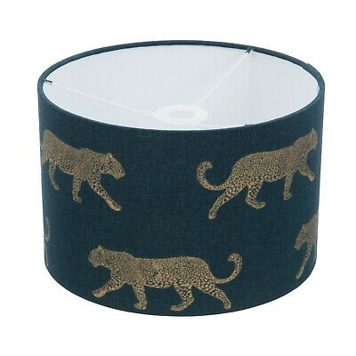 £24.99 • Buy Handmade Leopard Lampshade- Dark Teal Green And Gold-Linen-Animal Contemporary