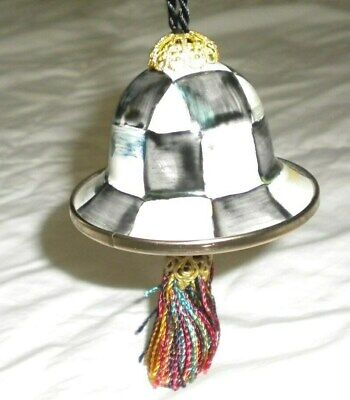 $54.99 • Buy Mackenzie Childs Courtly Check Enamelware Bell  Tassel Small Ornament