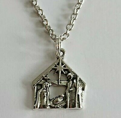£3.65 • Buy Christmas Nativity Necklace 20  Jesus Stable Scene Necklace In Xmas Gift Bag