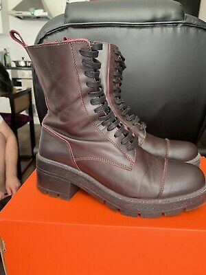 £18 • Buy Zara Leather Combat Chunky Boots Size 6 Burgundy-great Condition