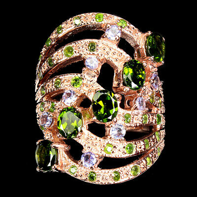 £0.70 • Buy Unheated Oval Chrome Diopside Tanzanite 925 Sterling Silver Ring Size 9