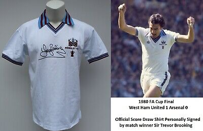 £100 • Buy 1980 West Ham Utd FA Cup Winners Shirt Signed By Sir Trevor Brooking With COA