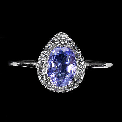 £0.70 • Buy Oval Blue Tanzanite 7x5mm Cz 14K White Gold Plate 925 Sterling Silver Ring 6.5