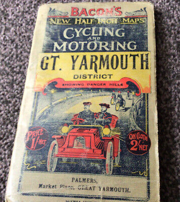 £10 • Buy Great Yarmouth District Bacons Cycling And Motoring.Half Inch Map