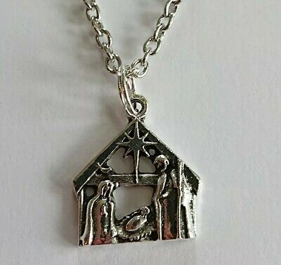 £3.65 • Buy Christmas Nativity Necklace 19- 20  Jesus Stable Scene Necklace In Xmas Gift Bag