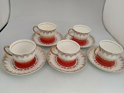 £7.99 • Buy Vintage Fine Bone China Tea Cups And Saucers Red And 22kt Gold X 5 #SH