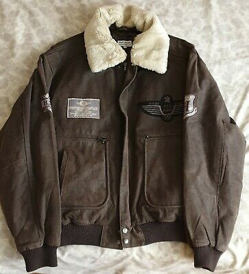 £99.99 • Buy US Air Force Style Retro Leather Jacket With Detachable Fleece Collar - Men's XL