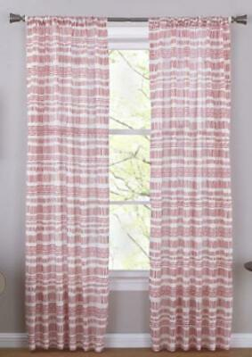 $14.95 • Buy NEW Mainstays 2 Window Curtain Panels Dash Dot Red White - Choose Size