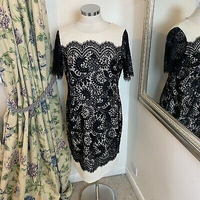 AU34.96 • Buy Autograph M&S 14 Black White Lace Fitted Party Occasion Formal Going Out Dress