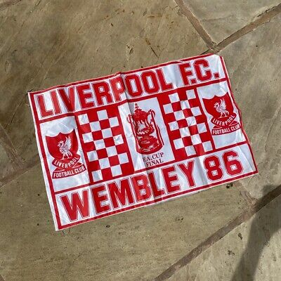£15.25 • Buy Vintage 1986 Wembley Liverpool Fa Cup Winners Flag Banner Pub Shed RARE