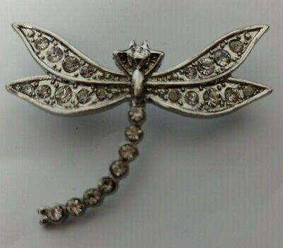 £5.95 • Buy DRAGONFLY BROOCH ~ Silver Tone ~ Clear Diamante Crystal Stones ~ Costume Pin 1
