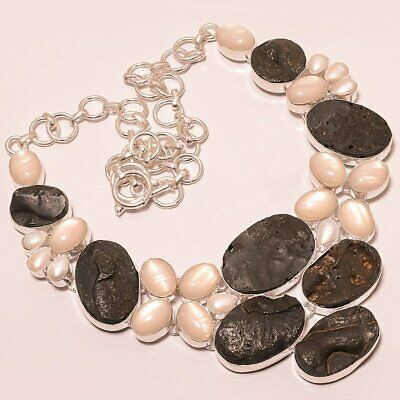 $0.01 • Buy Black Tourmaline Rock & Mabe Pearl 925 Sterling Silver Necklace 16-17.99  (4596)