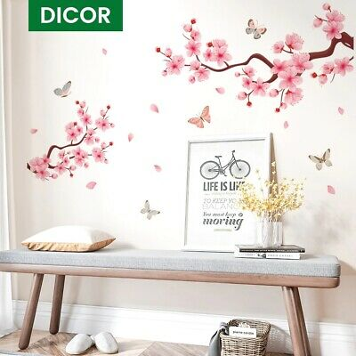 £4.76 • Buy Pink Peach Blossom Butterfly Wall Stickers Interior Living Room Home Wall Decal