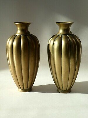 £165 • Buy PAIR ANTIQUE CHINESE POLISHED BRONZE MELON SHAPED RIBBED VASES 19th CENTURY QING