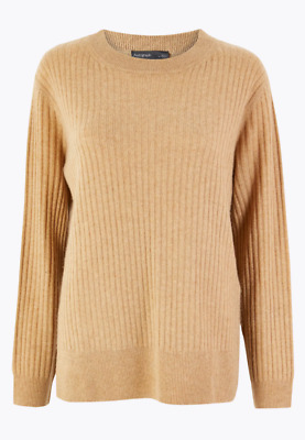 £25 • Buy M&S Autograph Pure Cashmere Relaxed Ribbed Jumper, Size 20, Camel Caramel