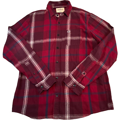 £11.80 • Buy HOLLISTER Mens Shirt XL Red Check Embroidered Logo Button Up Long Sleeve *
