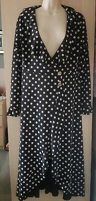 £8.99 • Buy Black And White Polka Dot Frill Wrap Dress Size 14 From Boohoo