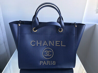 AU5380 • Buy Chanel Blue Caviar Leather Small Studded Deauville Tote