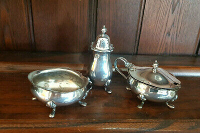 £14 • Buy Vintage Silver Plated EPNs A1 Three Piece Cruet - Cooper Brothers Sheffield