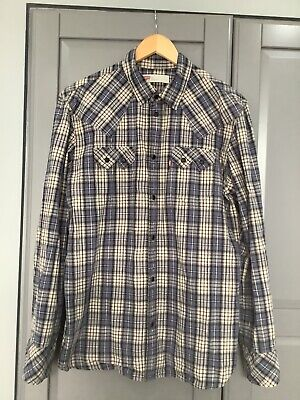 £19.99 • Buy Levi's Mens Western Shirt Snap Fastenings Blue Checked Large Slim Fit