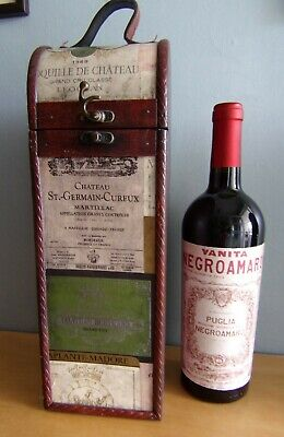 £17 • Buy Nice Wine Bottle Box Holder Rustic Faux Leather Hinged Top French Label 14  Tall