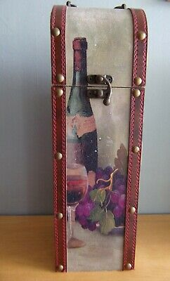 £17 • Buy Nice Wine Bottle Box Holder Rustic Faux Leather Hinged Top French Wine 13  Tall