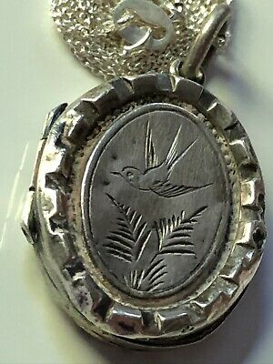 £14.99 • Buy 1882 Antique Victorian Sterling Silver Swallow Locket & 925 Chain Necklace LOVE