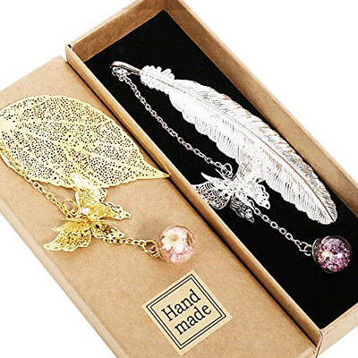 £10.22 • Buy Metagio 2 PCS Metal Feather Bookmark, Classical Vintage Bookmarks With 3D Reader