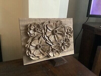 £32 • Buy Hand Carved Floral Panel In Walnut Picture Wall Art