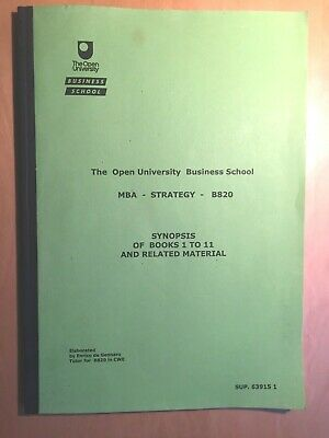 £4.95 • Buy SYNOPSIS Of Open University Business School Course MBA Strategy B820
