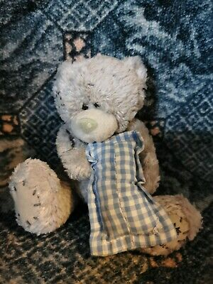£2 • Buy Me To You Bear Holding Blue And White Checked Pillow