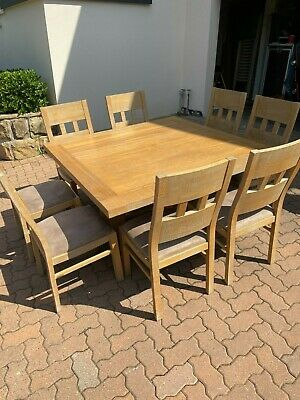 AU500 • Buy Solid Wood Dining Table , 8 Matching Chairs, With Velour Cushion